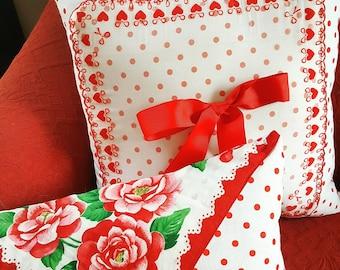 Red Polka Dot Pillow Set