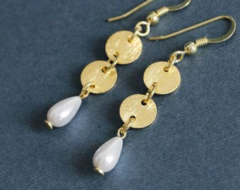 White Pearl Drop Earrings Gold Plated Silver Dangle Earrings 925 Silver Earrings Coin Earrings Tiny Pearl Earrings Textured Disk Earrings