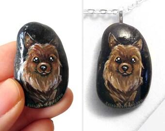 Pomeranian Art, Dog Painting, Pet Portrait, Memorial Necklace, Hand Painted Pebble Jewelry, Stone Pendant, Keepsake Gift for Animal Lover