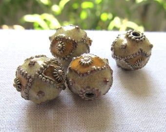 Tan Enamel Beads, Handmade Cloisonne Beads, Round Silver and Yellow Enamel Beads, Leather Look, 4 Pcs