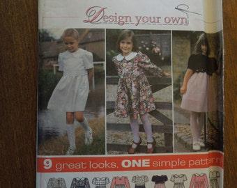Simplicity 9848, sizes 3-6, girls, childrens, dress, UNCUT sewing pattern, craft supplies