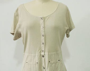 Super Discounted! Cute 1990s Khaki Full Length Short Sleeve Jumper Dress with small hole (see picture) Women's Size M