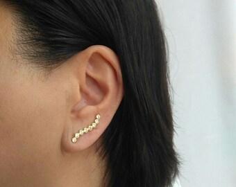 Silver curved bar, ear climber, Cz earrings, Minimalist earrings, Dainty ear climber.