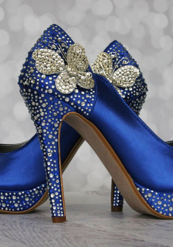 Etonnant Butterfly Wedding, Blue Wedding Shoes, Something Blue, Something Blue Shoes,  Butterflies, Crystal Heel Shoes, Peep Toes, Custom Wedding