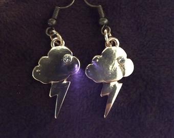 Hand Made Cloud & Lightening Bolt Earrings