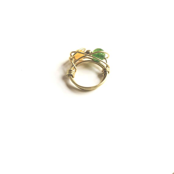 Planetary Rings - Brass, Green Jade and Yellow Jade Ring, wire wrap, size N, handmade, hippie, boho, astrology, astronomy, gypsy