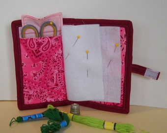 Pink Bandanna Needle Book, Needle Case, Hand Sewing Organizer