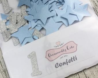 Confetti, table confetti, Birthday confetti, first birthday, party decorations, silver and blue