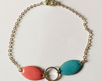 Sky blue and pink tones bracelet silver chain