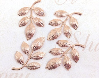 Rose Gold Leaf, Brass Leaves, Leaf Stamping, Brass Drop, 36mm x 23mm - 4 pcs. (rg324)