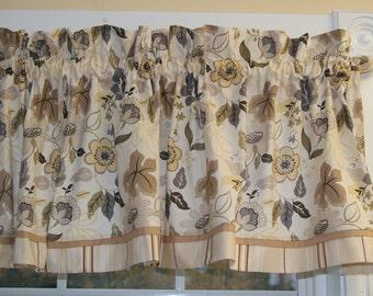 Eden Neutral Keepsake Calico Cream Brown Gold Toile Valance 17 x 43 Curtain Window Treatment