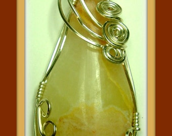 Onyx gemstone wire wrapped cabochon pendant