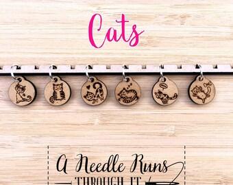 Kitty Cats stitch marker set, snag free stitch markers. cute cats stitch markers for knitting. Snag Free Stitch markers, knitting