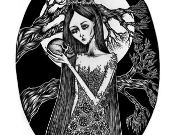 Dark queen - art print 8 x 10 dark gothic art skull death horror