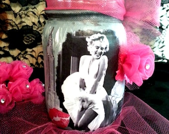 Marilyn Monroe Decoupage Mason Jar, Shabby Chic Decor, Distressed Paint Jar, Vintage Hollywood Movie Star Glam, Gift Idea for Woman