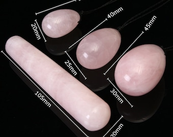 Yoni Crystal Wand  and Yoni Egg SET / Crystal Dildo / Rose Quartz Stone Massage Wand