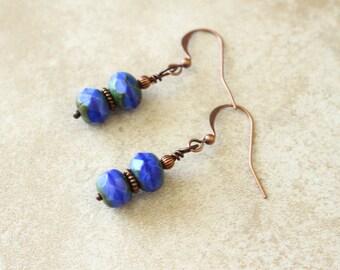 Blue and Copper Earrings, Blue Earrings, Blue and Green Earrings, Stacked Earrings, Czech Glass Beads, Copper Earrings, Boho Style