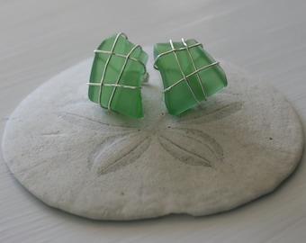 Green Recycled Glass Cufflinks
