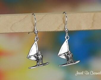 Sterling Silver Windsurfer Earrings Pierced 3D Solid .925 Windsurfing