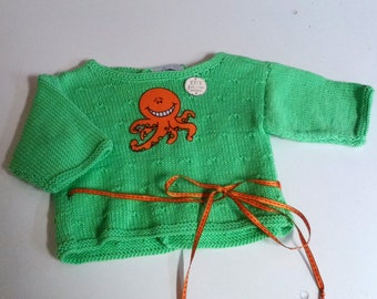 jacket knitted green Octopus baby birth gift