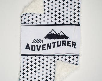 Adventure Fur Baby Blanket. Faux Fur Baby Blanket. Baby Bedding. Toddler Fur Blanket. Monochrome Baby Blanket.