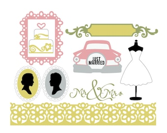 Vintage Wedding Elements Vector Art SVG Files (with Commercial License) - Wedding Cake, Dress Form, Vintage Car, Lace Frame & Border