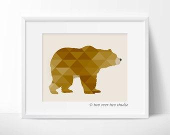 Bear Printable, Geometric Bear, Bear Art, Bear Wall Decor, Bear Wall Art, Brown Bear Print, Woodland Nursery Art, Animal Nursery Art