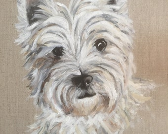 Westie, West Highland White Terrier, Dog, Portrait, Custom, HandPainted, Original, OilPainting, Art
