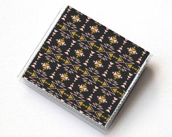 Vinyl Moo Square Card Holder - Aztec2 / vinyl, snap, mini card case, moo case, small, square, gift, boho, aztec, tribal, bohemian