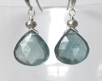 AAAA Blue Moss Aquamarine Earrings