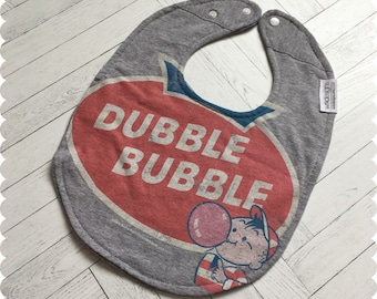 Double Bubble Baby Bib, Recycled T-Shirt Baby Bib, New Baby Gift, Baby Shower Gift, Funny Baby Bib, Cute Baby Bib,