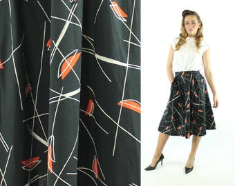 Vintage 50s Atomic Print Skirt Full High Waisted Mid Century Novelty Black Orange 1950s XS X-Small Pinup Rockabilly