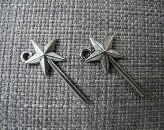Antique silver wand charm