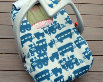 Trains Car Seat Cover for Winter Baby, Blue and Grey