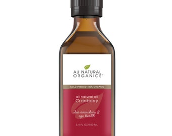 Cranberry Seed Oil Organic , Natural Haircare, Natural Skin Care, Anti Aging, Natural Acne Relief 3.4 oz (100 ml)