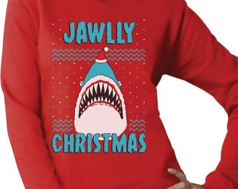 jawlly christmas ugly christmas sweater for xmas party shark women sweatshirt - Shark Christmas Sweater