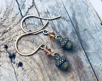 Brass Acorn Earrings With Crystal Nature Inspired Whimsical Woodland Simple Gifts Under 20 Squirrel Fun Jewelry Rustic Gifts For Her