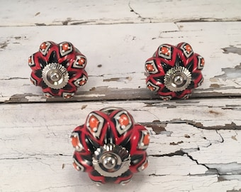 Red & Black Knobs, Decorative Pull Knob, Instant Furniture Upgrade Ceramic Drawer Pulls, Home Improvement Cabinet Supplies