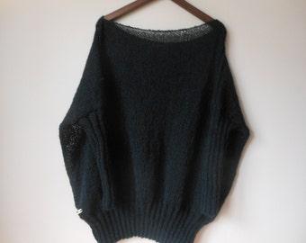 Oversized Plus Size Hand Knit Sweater Tunic Loose Knit Women's Sweater Black