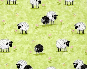 Sheep on Green Grass 100% Cotton Fabric - By The Yard