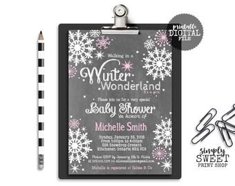 Winter Wonderland Girl Baby Shower Invite Invitation Pink White Snow Snowflake Chalk Chalkboard Wintery Unique Modern DIY Baby Shower Invite