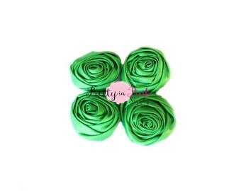 Emerald Satin TWISTED Rosettes- You Choose Quantity- Rolled Rosettes- Rolled Rosettes- PrettyinPinkSupply- DIY Supply Shop