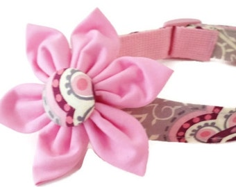 Girly Floral Dog Collar and Flower Set, Berry Vine, Pink, Gray, Girl Dog Collar, Adjustable Sizes Extra Small to  Extra Large Dogs, Handmade