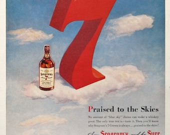 1950 Seagram's 7 Crown Ad - Cloudy Sky Art - 1950s Seagram's Blended Whiskey Advertising Prints