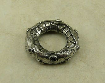 Octoring Green Girl Ring - Octopus Tentacle Ocean Squid Link Magic - Focal Large Hole - American Artist Made Lead Free Pewter Silver 287