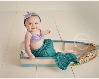 Crochet mermaid set, mermaid photo prop, baby mermaid costume, newborn, baby, toddler