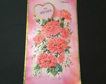 Vintage To Mother Valentine's Greeting Card, Pink carnations Bouquet, Gibson