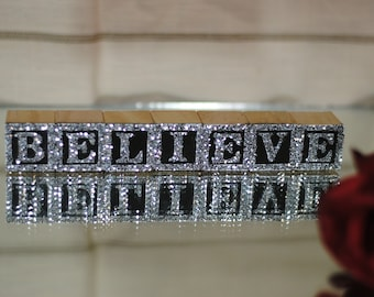 Silver Glitter Wooden ABC Blocks - BELIEVE- 7 Blocks - Great Gift to Encourage, Cancer Patient, Get Well Gift, Encouraging Words