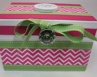 Newlywed Bridal Shower RECIPE BOX- Lime Green with Hot Pink Chevron
