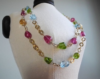 Gemstone eye candy with pink rubies--double strand